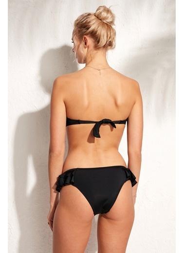 Marie Claire Fırfırlı Straplez Bikini Siyah